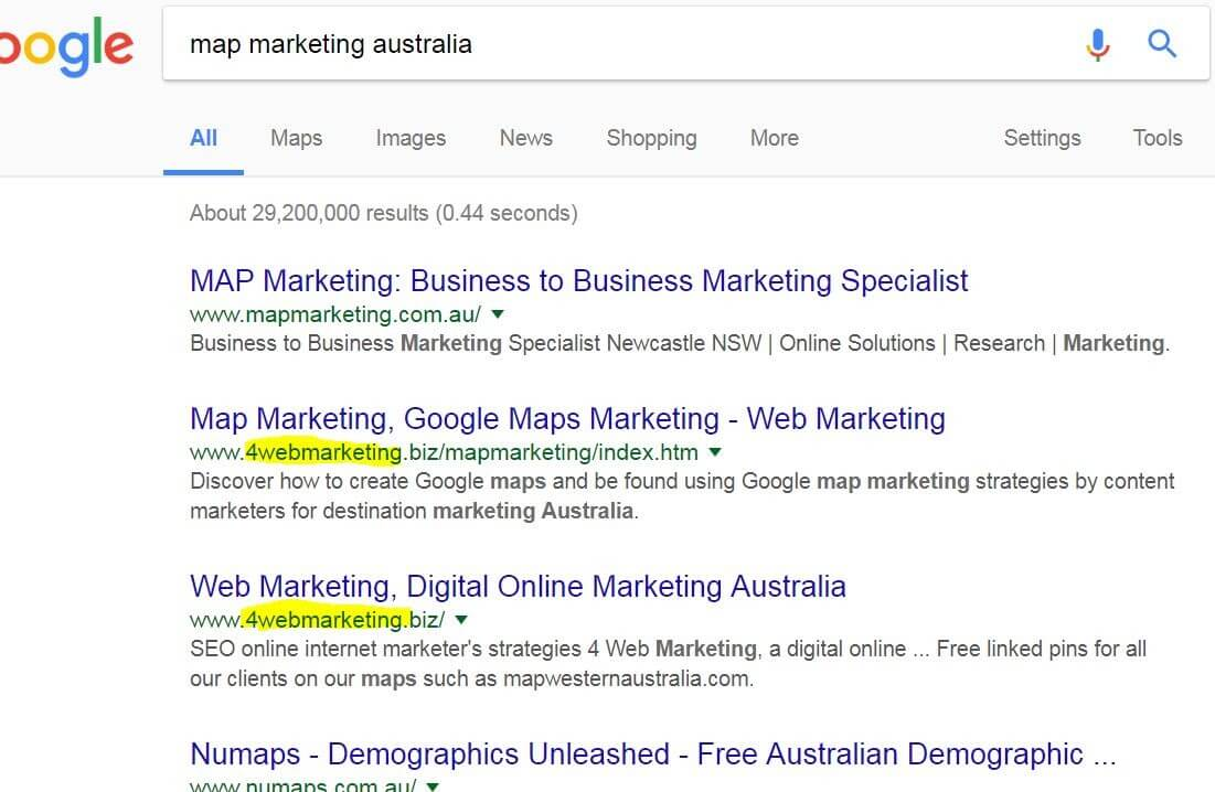 Map marketing Australia