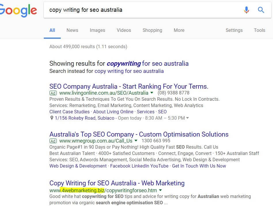 Copywriting for SEO Australia