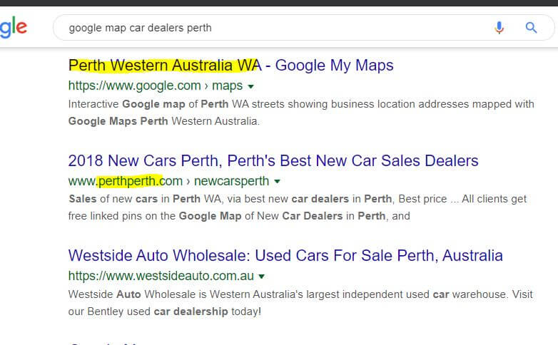 Map car dealers Perth