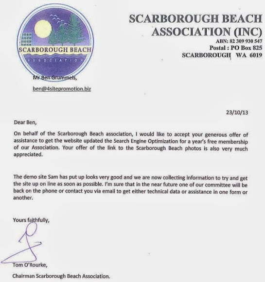 Scarborough Beach Association testimonial