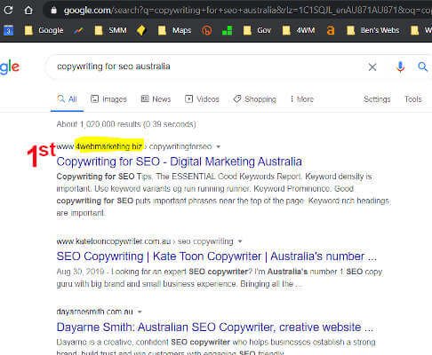 Copywriting for SEO Perth